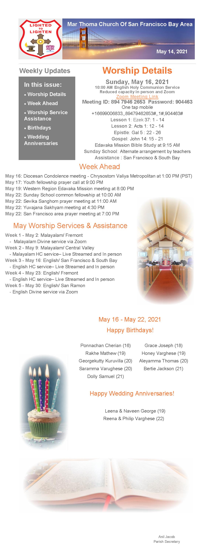 May 16 - May 22 2021